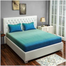 Swayam 300 TC Solid Flat Double Bedsheet ( Blue , Pack of 3 )