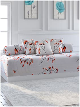 Swayam Cotton Floral Single Size Diwan Sets - Pack of 6