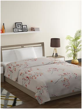 Swayam Ananda-Premium 100% Cotton 200 TC;Microfiber Fill 150 GSM -Floral pattern-Single Comforter;Beige;Red