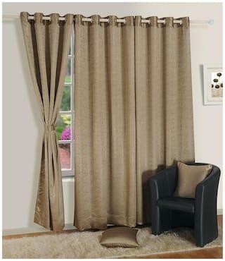 Swayam Silk Door Blackout Beige Regular Curtain ( Eyelet Closure , Solid )