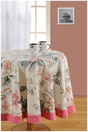 SWAYAM Beige  6 Seater Round Table Cover