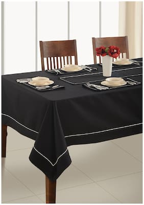 SWAYAM Black  6 Seater Flat Table Cover