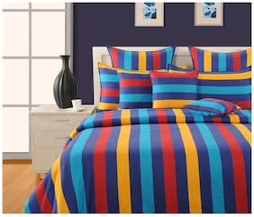 Swayam Cotton Geometric Double Size Bedsheet 200 TC ( 1 Bedsheet With 2 Pillow Covers , Blue )