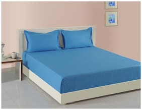 Swayam Cotton Solid Double Size Bedsheet 160 TC ( 1 Bedsheet With 2 Pillow Covers , Blue )