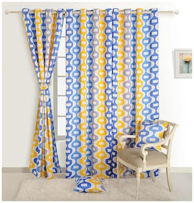 Swayam Silk Window Blackout Blue Regular Curtain ( Eyelet Closure , Floral )