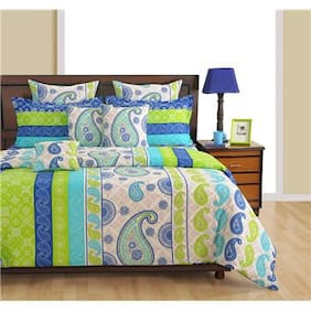 Swayam Cotton Geometric Single Size Bedsheet 144 TC ( 1 Bedsheet With 1 Pillow Covers , Blue )