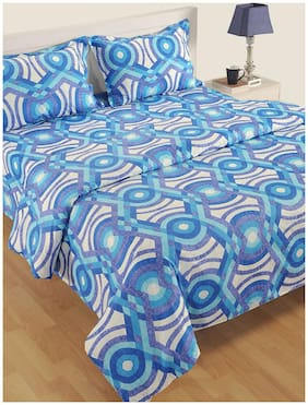 Swayam Cotton Abstract Single Size Comforter Blue