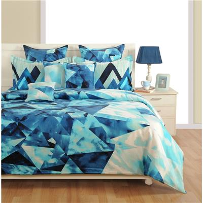 Swayam Blue and Navy Blue Colour Geometric Fitted Double Bed Sheet with...
