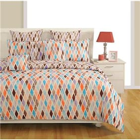 Swayam Cotton Geometric King Size Bedsheet 144 TC ( 1 Bedsheet With 2 Pillow Covers , Blue )