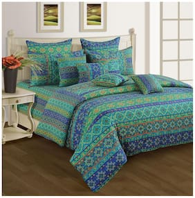 SWAYAM Blue and Sea Green  Bed in a Bag Set of 4