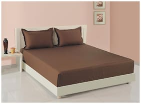Swayam Cotton Solid Double Size Bedsheet 160 TC ( 1 Bedsheet With 2 Pillow Covers , Brown )