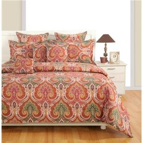 Swayam Brown and White  Motifs Single Bed Sheet with Pillow Covers