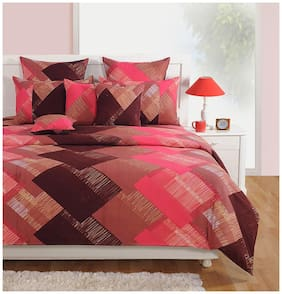 Swayam Cotton Geometric King Size Bedsheet 250 TC ( 1 Bedsheet With 2 Pillow Covers , Brown )
