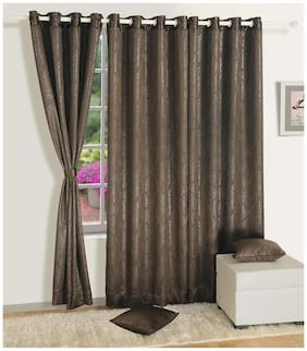 Swayam Choclate Brown  Paisley J&B Blackout Eyelet Curtain for Window