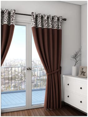 Swayam Choco Colour Solid Premium Lining Plain Eyelet Curtain for Door