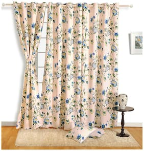 Swayam Cotton Window Blackout Cream Regular Curtain ( Eyelet Closure , Floral )