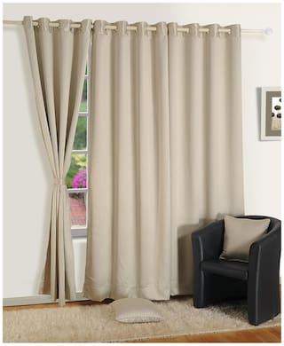 Swayam Silk Window Blackout Cream Regular Curtain ( Eyelet Closure , Motif )