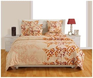 Swayam Cotton Floral Single Size Bedsheet 144 TC ( 1 Bedsheet With 1 Pillow Covers , Cream )