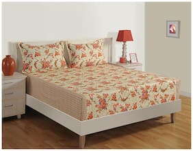 Swayam Cotton Floral Double Size Bedsheet 180 TC ( 1 Bedsheet With 2 Pillow Covers , Cream )
