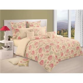 Swayam Cream and Pink  Floral Double Winter Quilt