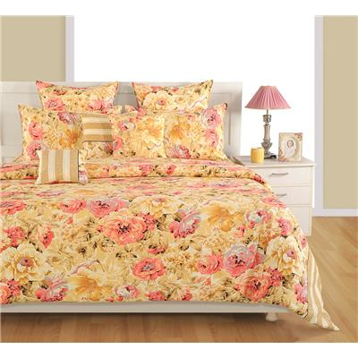 Swayam Cream And Pink Floral Double Bed Sheet With Pillow Covers