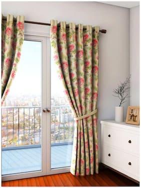 Swayam Silk Door Blackout Cream Regular Curtain ( Eyelet Closure , Floral )