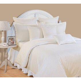 Swayam Ivory Colour Solid Double Bed Sheet with Pillow Covers