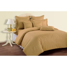 Swayam Gold Colour Solid Double Bed Sheet with Pillow Covers