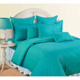 Swayam Cotton Striped Double Size Bedsheet 150 TC ( 1 Bedsheet With 2 Pillow Covers , Turquoise )