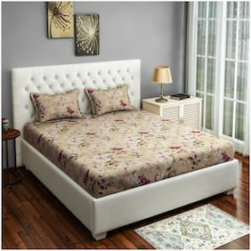 Swayam Cotton Floral Double Size Bedsheet 250 TC ( 1 Bedsheet With 2 Pillow Covers , White )