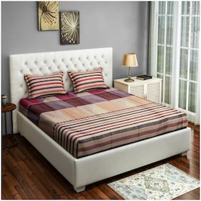 Swayam Cotton Striped Double Size Bedsheet 250 TC ( 1 Bedsheet With 2 Pillow Covers , Pink )