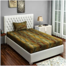 Swayam Cotton Floral Single Size Bedsheet 250 TC ( 1 Bedsheet With 1 Pillow Covers , Golden )