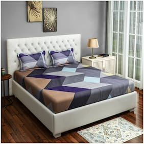 Swayam Cotton Geometric Double Size Bedsheet 200 TC ( 1 Bedsheet With 2 Pillow Covers , Grey )