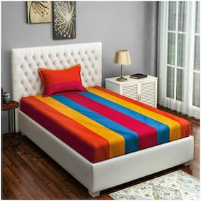 Swayam Cotton Striped Single Size Bedsheet 180 TC ( 1 Bedsheet With 1 Pillow Covers , Yellow )