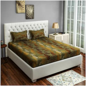 Swayam Cotton Floral Double Size Bedsheet 250 TC ( 1 Bedsheet With 2 Pillow Covers , Golden )
