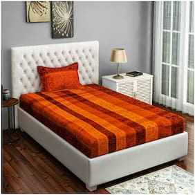 Swayam Cotton Floral Single Size Bedsheet 250 TC ( 1 Bedsheet With 1 Pillow Covers , Orange )