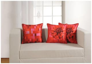 Swayam Floral and Check Theme Deco Cushion Cover Set of 2