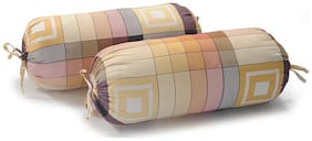 Swayam Floral Cotton Satin Bolster Cover Set of 2