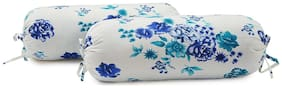 Swayam Floral Cotton Bolster Cover Set of 2