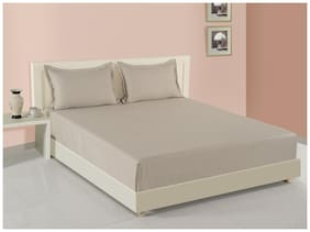 Swayam Cotton Solid King Size Bedsheet 160 TC ( 1 Bedsheet With 2 Pillow Covers , Cream )