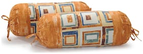 Swayam Geometric Cotton Bolster Cover Set of 2