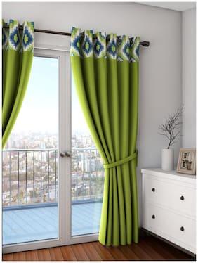 Swayam Silk Door Blackout Green Regular Curtain ( Eyelet Closure , Solid )