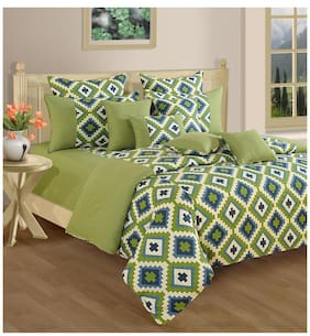 Swayam Green and Purple  Geometric Single Winter Quilt