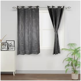 Swayam Silk Window Blackout Grey Regular Curtain ( Eyelet Closure , Motif )