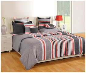 Swayam Cotton Geometric Double Size Bedsheet 160 TC ( 1 Bedsheet With 2 Pillow Covers , Grey )