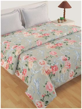 Swayam Cotton Floral Double Size Comforter Grey