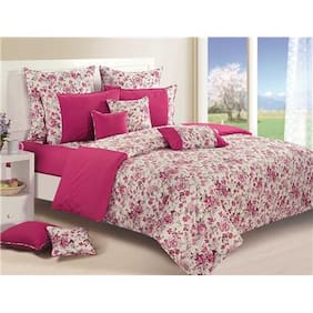 Swayam Magenta and Off White  Floral Single Winter Quilt
