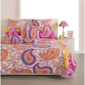 Swayam Cotton Geometric Double Size Bedsheet 200 TC ( 1 Bedsheet With 2 Pillow Covers , Magenta )