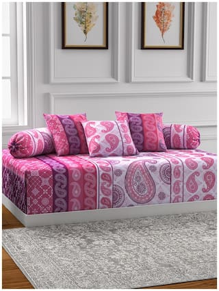 Swayam Motifs Diwan Set with Bolster and Cushion Covers (Set of 6)
