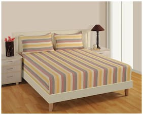 Swayam Cotton Striped Double Size Bedsheet 160 TC ( 1 Bedsheet With 2 Pillow Covers , Multi )